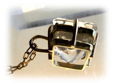 K18 クリア水晶スクエアペンダントヘッド
