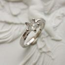 18金18Kホワイトゴールド水晶星スター指輪リング