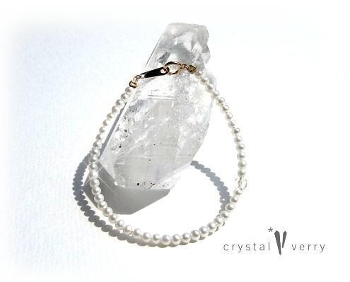 18金 イエローゴールド ベビーパール&水晶