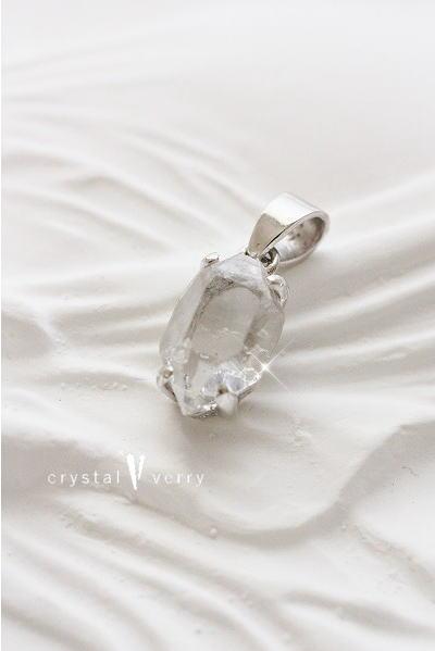 18金 ホワイトゴールド ハーキマーダイヤモンド ペンダントトップ