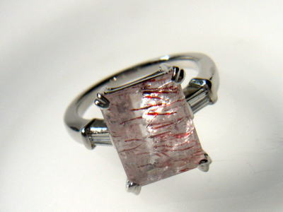 ストロベリークォーツ ダイヤモンド 指輪 リング 水晶