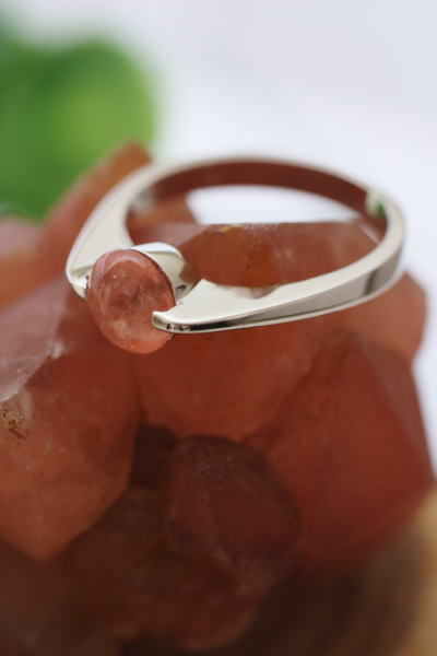 ストロベリークォーツ サーモンピンク 天然石 パワーストーン 指輪 リング