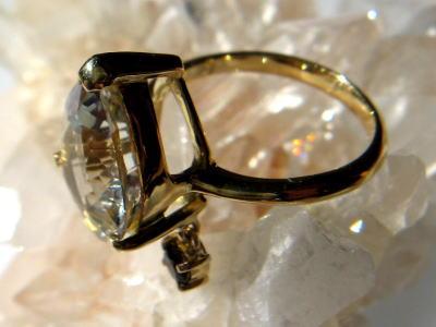 シトリン スモーキークォーツ パワーストーン リング 指輪 K18