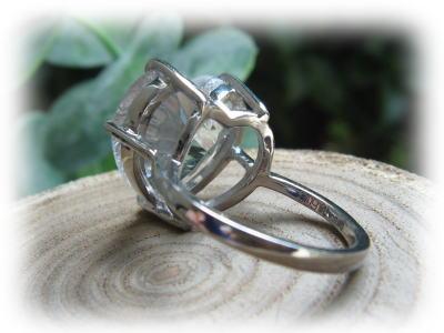ハート 水晶 パワーストーン ブラジル産 リング 指輪 K18