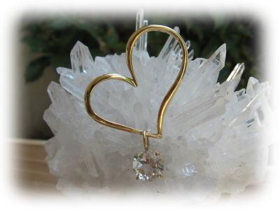 ハート 水晶 ペンダント フープ