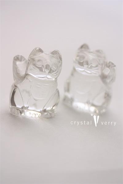 水晶 招き猫 福 財 福を呼ぶ 猫 パワーストーン