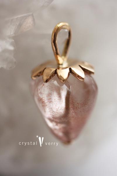 苺 水晶 ストロベリークォーツ ピンクゴールド ネックレス
