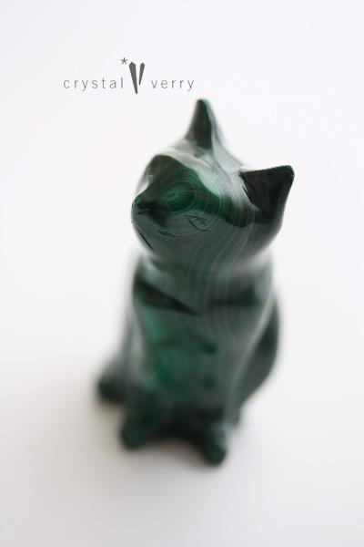 マラカイト 猫 天然石 パワーストーン ペットロス
