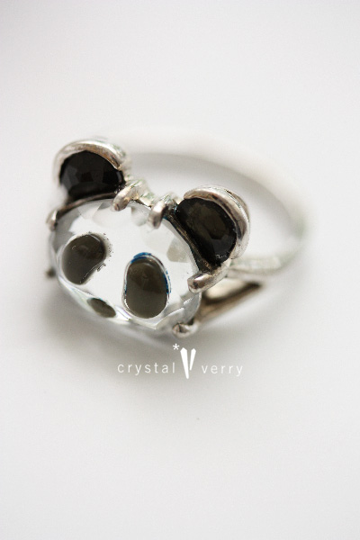 水晶 ブラックスピネル パンダ ジュエリー 指輪